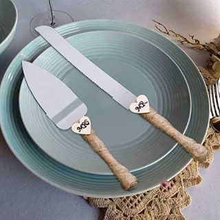 senover MR MRS Wedding Cake Knife and Server Set Pizza Pie Cake Knife Cutter Serveing for Wedding Gift,Engagement Gift,Bridal Shower Gift, Anniversary Gift