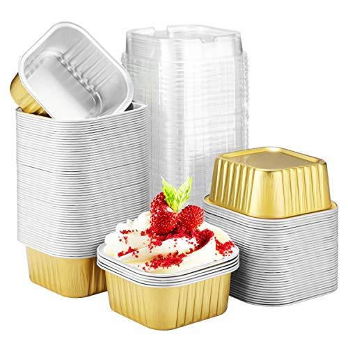 "Baking Cups Aluminum Foil, Eusoar 5oz 100pcs Reusable Cupcake Cups with Lids, 3.14x2.75x1.37"" Pie Ramekins, Creme Brulee Crisp Cups, Pudding Jello Cups, Catering Party Favor-Gold"