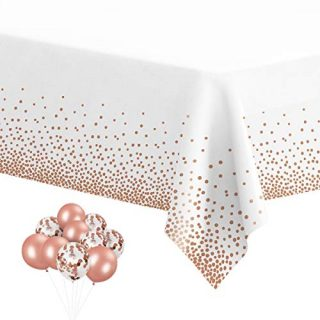 "6 Pack Plastic Tablecloths for Rectangle Tables, Disposable Party Rose Gold Dot Confetti Rectangular Table Covers with 30 Balloons for Parties Wedding Bridal Shower, 54"" x 108"""