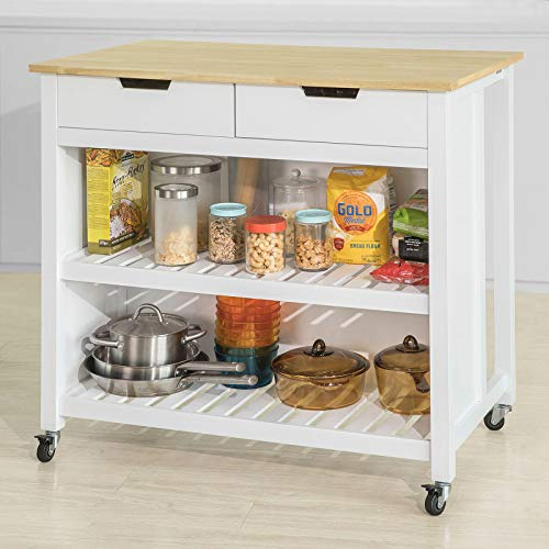 Haotian FKW74-WN,Extendable Kitchen Storage Trolley Kitchen Cabinet Cupboard Sideboard Kitchen Island with Rubber Wood & Marble Top (White+Natural)