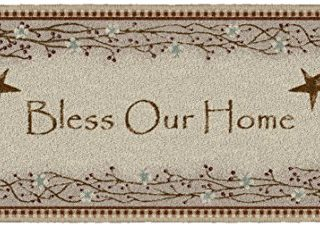 """Brumlow Mills Bless Our Home Berry Blossoms Floral Welcome Door Mat or Kitchen and Home Décor Area Rug, 20""""x44"""", Rectangle, Deep Red"""