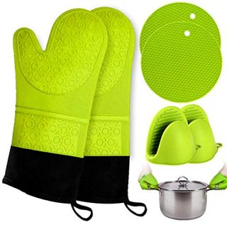 RFAQK Oven Mitts and Pot Holder- Extra Long Silicone Oven Mitt Heat Resistant with 2 trivets & Mini Pinch Oven Mitts-Food Safe Baking Gloves for Cooking in Kitchen with Soft Inner Lining