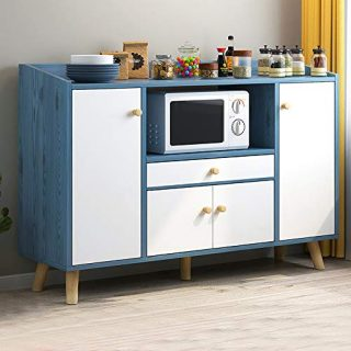 Menaka-US Modern Kitchen Storage Cabinet Sideboard Cupboard and Buffet Table Wooden with Door and Drawers Microwave Shelf for Dining Room Living Room Entryway