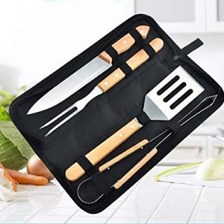 Global-store 9 Piece BBQ Tools, Grilling Utensil Set, Grill Accessories with GrillTongs, Grilling Spatula, Grill Fork, Silicone Basting Brush and Kabob Skewers for Kitchen, Barbecue, Camp