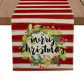 Artoid Mode Red Stripes Flower Wreath Merry Christmas Table Runner, Seasonal Winter Xmas Holiday Tablecloth Kitchen Dining Table Linen for Indoor Outdoor Home Party Decor 13 x 72 Inch