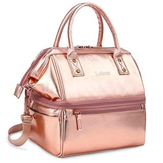 DTBG Lunch Bags for Women Wide Open Insulated Lunch Box with Double Deck Large Capacity Cooler Tote Bag with Removable Shoulder Strap Lunch Organizer for Outdoor/Work(Rose Gold)