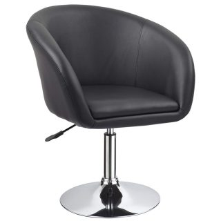 Duhome Jumbo Size Accent Chair Salon Stool with Wheels Luxury PU Leather Contemporary Round Swivel Chair Tufted Adjustable Lounge Pub Bar Salon (Black)