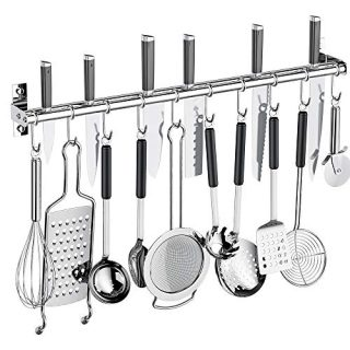 Kitchen Sliding Hooks, Stainless Steel Hanging Rack Rail Organize Kitchen Tools with 10 Utensil S Hooks for Towel, Pot and Pan, Spoon, Coats, Bathrobe, BBQ Tools,Cookware