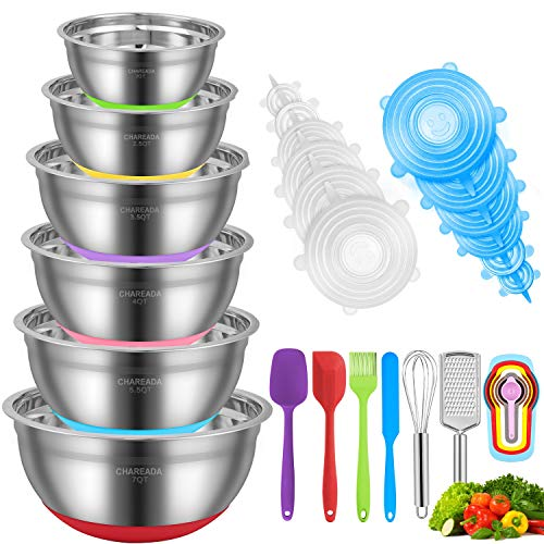 Mixing Bowls, CHAREADA 30pcs Stainless Steel Nesting Mixing Bowls Set for Space Saving Storage – Colorful Non-slip Silicone Bottom, Size 7, 5.5, 4, 3.5, 2.5, 2 QT, Fit for Mixing & Serving