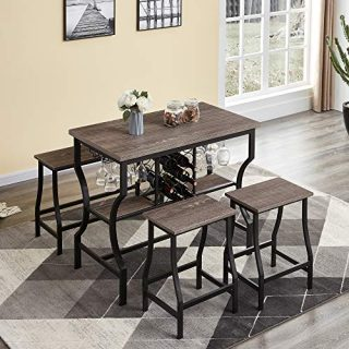 4-Piece Dining Room Table Set, Counter Height Pub Table Set with Wine Storage and Glass Holder
