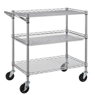 Finnhomy 3 Tier Heavy Duty Commercial Grade Utility Cart, Wire Rolling Cart with Handle Bar, Steel Service Cart with Wheels, Utility Shelf Plant Display Shelf Food Storage Trolley, NSF Listed
