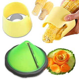 Behey Corn Peeler Stripper & Vegetable Peeler Curler for Kitchen Gadget, Carrot Cutter Cucumber Slicer Potato Sharpener Spiralizer, Manual Corn Threshing Cob Kernels Remover Fresh Easy Salad Tool 3PCS