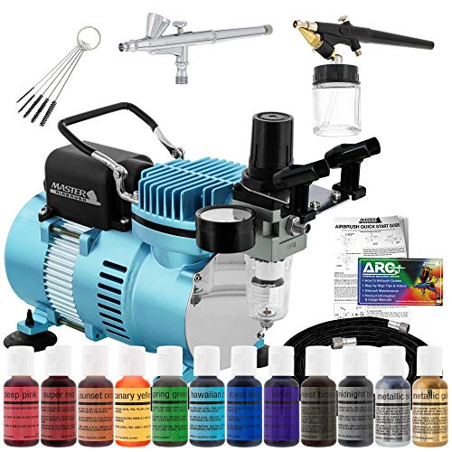 Master Airbrush Cake Decorating Airbrushing System Kit with 2 Airbrushes, Gravity and Siphon, 12 Color Chefmaster Food Coloring Set, Pro Cool Runner II Dual Fan Air Compressor - How To Guide, Cupcakes