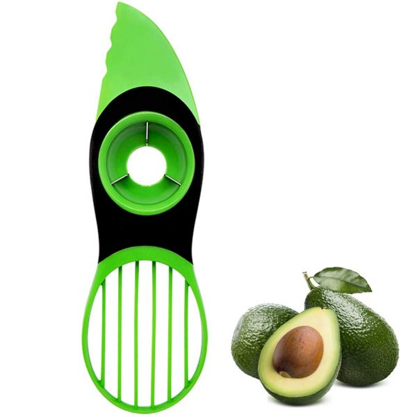 Avocado Cutter, 3 In 1Multifunction Avocado Slicer and Pitter Avocado Peeler Avocado Tool Fruit Vegetable Peelers for Kitchen Tools (Green-1P)