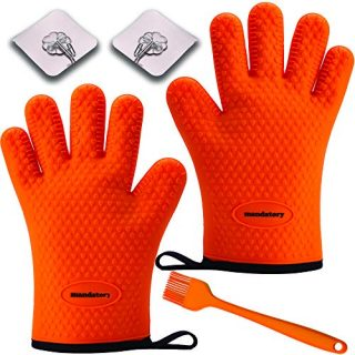 GOODBoosts Silicone Heat Resistant Gloves Oven Mitts for Kitchen,BBQ Grill & Pit - Extreme Heat Non-Slip Washable Potholder Use Super Value Set + Bonuses(Orange)