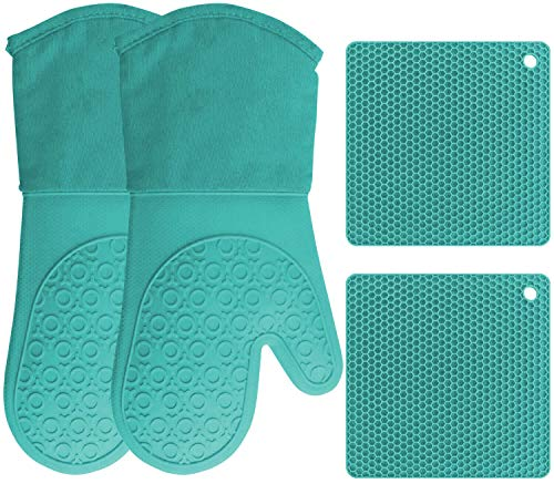 Silicone Oven Mitts and Pot Holders, 4-Piece Set