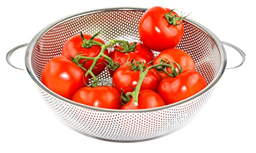 GRAN Stainless Steel Micro-Perforated Colander Kitchen Strainer Sieve with Handle - Large 5 Quart Bowl - Pasta, Rice, Fruit, Vegetable Drainer