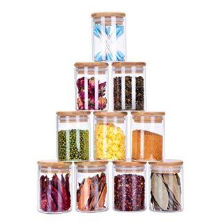 10 Piece Glass Storage Jars Set with Airtight Bamboo Lids, 5oz Glass Spice Jars-Mini Food Storage Containers for Home Kitchen, Tea, Herbs, Sugar, Salt, Coffee, Flour, Herbs, Grains