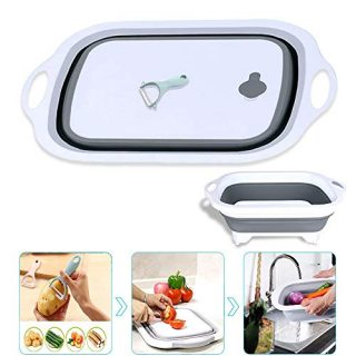 Collapsible Cutting Board, Chopping Board with Colander, Multifunction Kitchen Plastic Silicone Dish Tub for Washing and Draining Veggies Fruits Storage Basket with a Ceramic Peeler