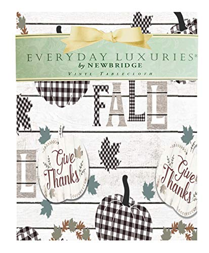 """Newbridge Gingham Pumpkin Black and White Vinyl Flannel Backed Thanksgiving Tablecloth - Checkered Harvest and Fall Kitchen and Dining Room, Easy Care Wipe Clean Tablecloth, 52"""" x 52"""" Square"""
