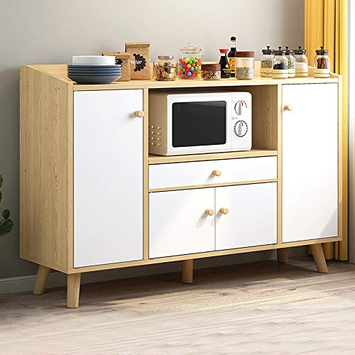 Menaka Wooden Kitchen Storage Cabinet Sideboard Cupboard and Buffet Table with Door and Drawers Microwave Shelf, Living Room Entryway Utility Cabinet for Unit Storage Organiser