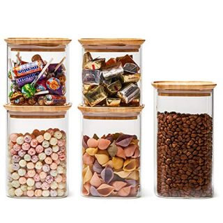 EZOWare 5 Piece Stackable Clear Glass Jar Set, Square Air Tight Kitchen Canister Food Storage Containers for Candy, Cookie, Rice, Sugar, Flour, Pasta, Nuts - 24oz / 34oz / 44oz