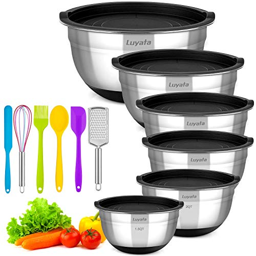 Mixing Bowls With Airtight Lids, 12PCS Stainless Steel Nesting Mixing Bowl Set - 1.5/2 /2.5/3.5/4 / 7 Quart With Non-Slip Silicone Base for Mixing & Serving & Food Storage