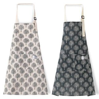 2pcs Cotton Linen Cooking Kitchen Aprons for Women Adjustable Chef Bib Apron for Men with Pockets Two Trees