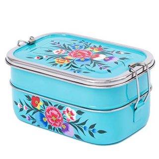 Handpainted Stainless Steel Tiffin Box - 3-Tier Divided Container, Eco Gift, Easy Clean Metal Bento Box for Adults, Lunch Box for Teen Girls, Large Turquoise