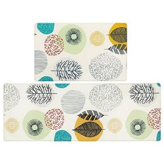 Pauwer Anti Fatigue Kitchen Floor Mat Set of 2 Non Slip Waterproof Comfort Standing Desk Mats Thick Cushioned Anti Fatigue Kitchen Rugs and Mats, Colorful Leaves