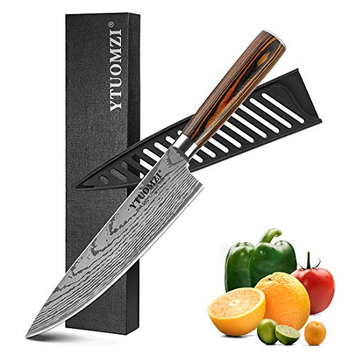Chef Knife, 8 Inch Chef's Knife, German High Carbon Stainless Steel Knife with Wooden Ergonomic Handle, Professional Sharp Kitchen Knife