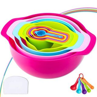 16 Piece Mixing Bowl Set - Colorful Kitchen Bowls Colander Mesh Strainer Plastic Nesting Bowls - with Easy Pour Spout, Colorful, Measure Cups, and Spoons - for Baking, Cooking, and More