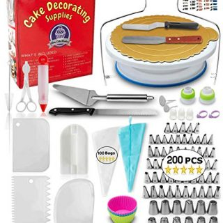 Aleeza Cake Wonders LOTSA Frosting Cake Decorating Kit. 200 pcs Cake Decorating Supplies with 100 Icing Bags, Russian Piping Tips, Cake Turntable and More Cookie, Pastry, Cupcake Piping Bags and Tools