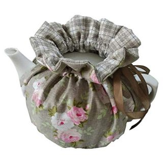 ZYEN 100% Cotton Printed Tea Cosy, Double Insulated Teapot Cover Keep Warm Kettle Cover Kitchen Tea Pot Dust Cover Vintage Tea Cozies for Hotel Tea Party Restaurant (Khaki)