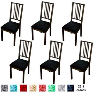 Argstar 2,4,6 Pieces Velvet Dining Chairs Seat Cover, Velvet Seats Cover for Dining Room Chair, Kitchen Chair Seat Cover Set of 6, Black