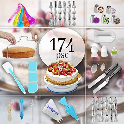 174pcs Cake Decorating Supplies Kit Cake decorating set Baking Tools Kids Cake with cake Turntable