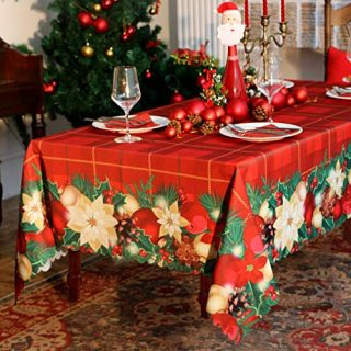 Diva en Camino Christmas Rectangle Table Cloth - 60x84 inch Water Proof Holiday Decorative Printed Fabric Tablecloth Cover for Kitchen Outdoor and Indoor Use