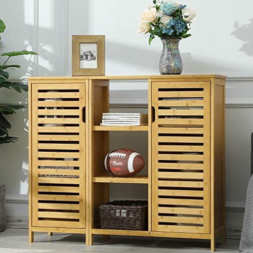VIAGDO Sideboard Storage Cabinets with 2 Louvered Doors and 3 Shelves, Detachable Kitchen Cabinet Dining Buffet Server Cabinet Console Tables for Entryway Home Kitchen Dining Room Furniture