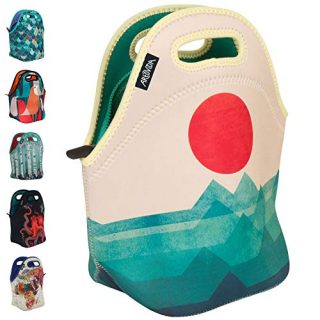 Art of Lunch by ARTOVIDA Insulated Neoprene Lunch Bag for Women, Men and Kids - Reusable Soft Lunch Tote for Work and School - Design by Budi Kwan (Indonesia) - The Ocean, The Sea, The Wave