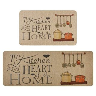 Kitchen Rugs Set,Famibay 2 Piece Cushioned Chef Soft Non-Slip Rubber Back Floor Mats Washable Doormat Bathroom Runner Area Rug Carpet