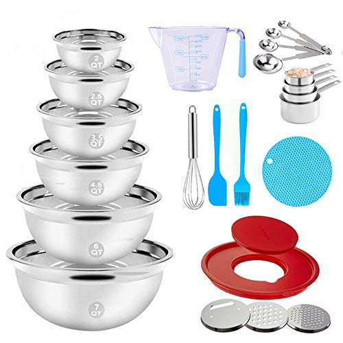 """Stainless Steel Mixing Bowls Set, 23PCS Nesting Metal Mixing Bowls with 9.4"""" Lid, 3 Graters Attachments, Measuring Cups and Spoons Egg Whisk Brush Kitchen Utensils for Cooking Prepping Baking Supplies"""