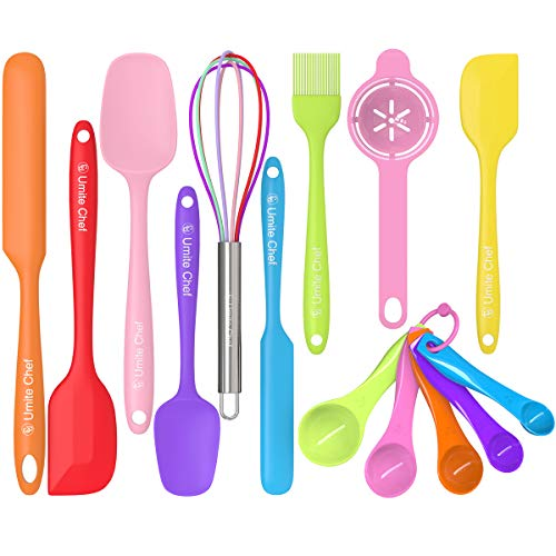 Silicone Spatula 14-piece Set, Umite Chef Mini Rubber Spatula Set-Versatile Tools Created for Baking and Mixing-One Piece Design, Non-Stick & Heat Resistant-Stainless Steel Core (Multicolor)