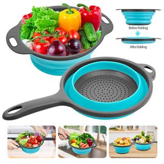 Silicone Collapsible Colander, Rareccy Kitchen Colander Strainer Set Extendable Handles Over The Sink - Silicone Folding Food Basket Strainers for Draining Pasta, Vegetable, Fruit (2 Pack - Blue)