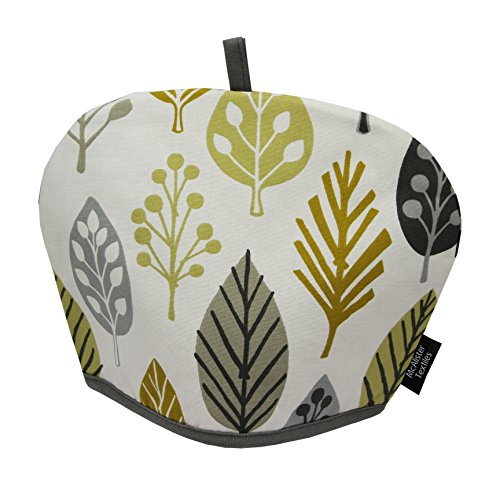 McAlister Textiles Magda Tea Cozy | Yellow + Gray Pattern Decoration Leaf Print Novelty Fall Decor Kitchen Kettle Pot Cover Tea Cosy | Decoration 10 x 14 Inches