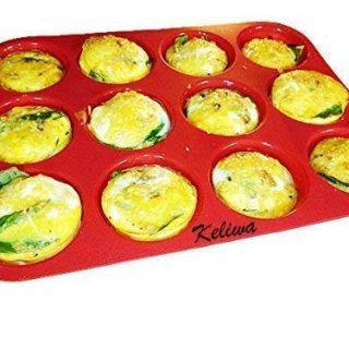keliwa's 12 - Cup Silicone Muffin - Cupcake Baking Pan/Non - Stick Silicone Mold/Dishwasher - Microwave Safe