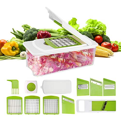 Vegetable Chopper Manual 7 in 1 Vegetable Cutter Grater Mandoline Slicer Peeler Cheese Onion Food Chopper Dicer Pro Fruit Veggie Chopper Potato Slicer Interchangeable Multi Blades Kitchen