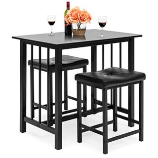 Best Choice Products 3-Piece Counter Height Dining Table Furniture Set for Kitchen, Bar, Bonus Room w/ 2 Faux Leather Backless Stools, Compact, Space-Saving Design - Black