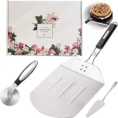 KOKITEA Stainless Steel Pizza Peel with Folding Heat Proof Handle, Stainless Steel Pizza Cutter Wheel with Anti-Slip Grip Handle, Gourmet Luxury Pizza Paddle Set for Baking Homemade Pizza and Bread