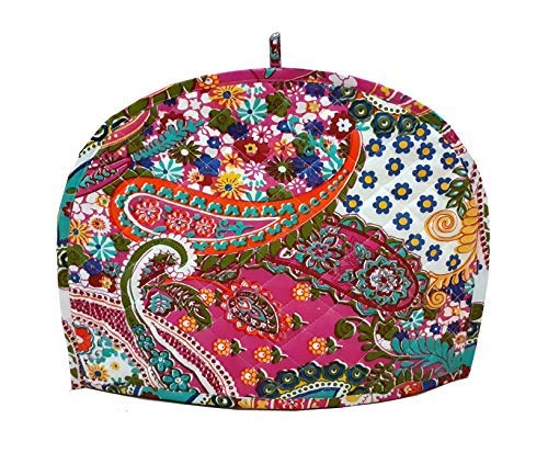 Devik Decor Tea Cozy for Teapot Indian Handmade Mandala Pink Printed Cotton, 14 X 11 Inches; 36 X 28 cm