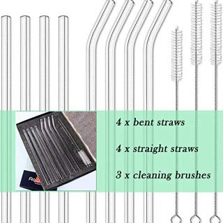 8pcs Glass Drinking Straws, Straight 9 inches x 10mm Bent 8.2 inches x 10mm, Reusable for Hot or Cold Drinks, Eco Friendly, Cleaning Brushes Included